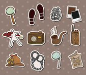 Cartoon detective equipment stickers — Stok Vektör