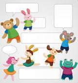 Cartoon animal dancer seamless pattern — Stock Vector