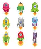 Icono de la nave espacial de dibujos animados — Vector de stock