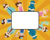 Cartoon doctor and nurse card — Stock Vector