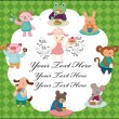 Royalty-Free Stock Vector Image: Cartoon animal tea time card