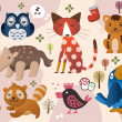 Cute animal zoo — Image vectorielle