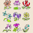 Hand draw flower - Stok Vektr