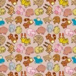 Seamless cartoon animal pattern,(vector) — Imagen vectorial