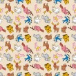 Seamless cute animal pattern - Stock Vector