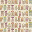 House seamless pattern,vector illustration - Stock Vector