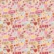 Stock Vector: Cute love element seamless pattern