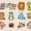 Cute animal element, hand draw icon - Stok Vektr