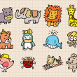 Cute animal element, hand draw icon - Imagen vectorial