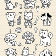 Hand draw cute dog element - Imagen vectorial