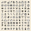 Stock Vector: 100 hand draw web icons