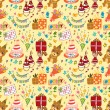 Cute birthday seamless pattern - Stock Vector