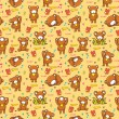 Cute bear seamless pattern - Stock Vector