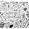Valentine&#039;s Day doodle - Stok Vektr