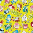 Seamless robot pattern — Stock Vector #8037701