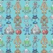 Seamless robot pattern — Stock Vector #8037826