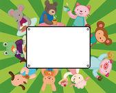 Cartoon animal tea time card — Stock Vector