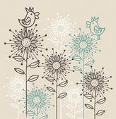 Achtergrond met vogels en bloemen — Stockvector