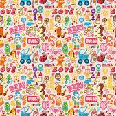 Cartoon baby seamless pattern — Stock Vector