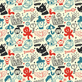Funny creatures collection. Seamless pattern. Vector illustration. — Stock Vector