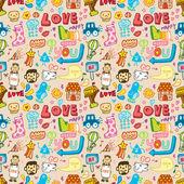 Seamless cute cartoon pattern(vector) — Stock Vector