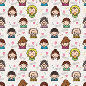 Seamless cute family pattern,vector illustration — Stock Vector