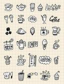 手描コーヒー要素 — ストックベクタ