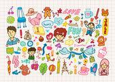 Hand draw cute cartoon element,vector illustration — Stock Vector