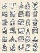 手描きの家要素 — ストックベクタ