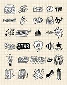 Hand draw music element — Stock Vector