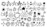 Doodle star element set — Stock Vector