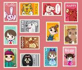 Cute cartoon stamps — Stock Vector