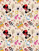 Seamless Alice in Wonderland pattern — Stock Vector