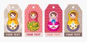 Russian dolls card — Stock Vector