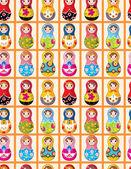 Seamless Russian dolls pattern — Stock Vector