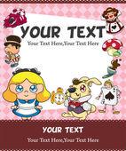 Alice in Wonderland card — Stock Vector