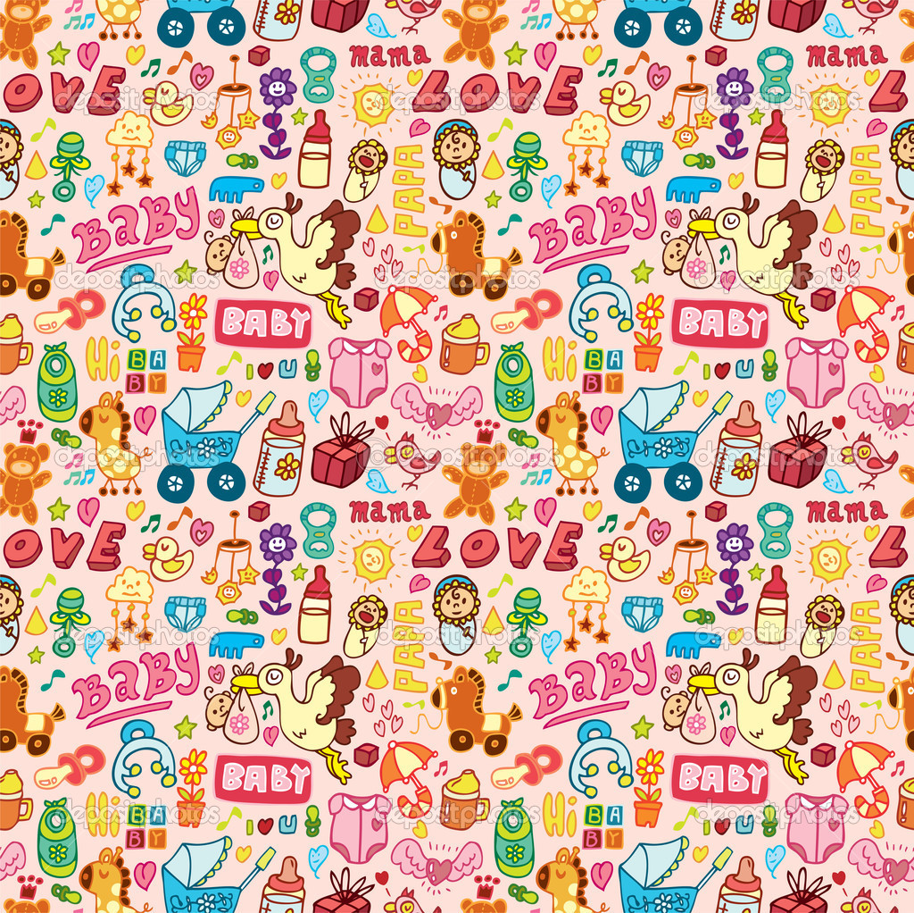 Cartoon baby seamless pattern — Stock Vector #8035316