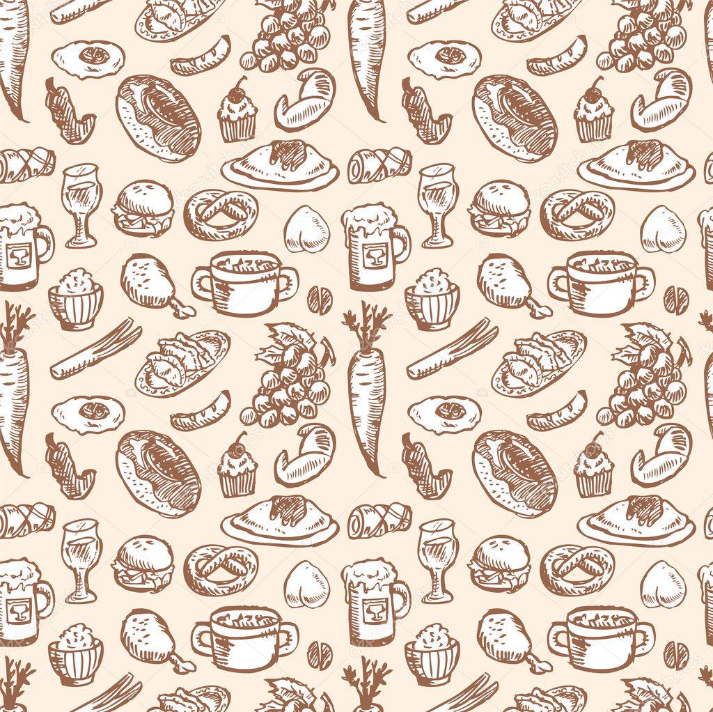 Seamless food pattern — Stock Vector © mocoo2003 #8036666
