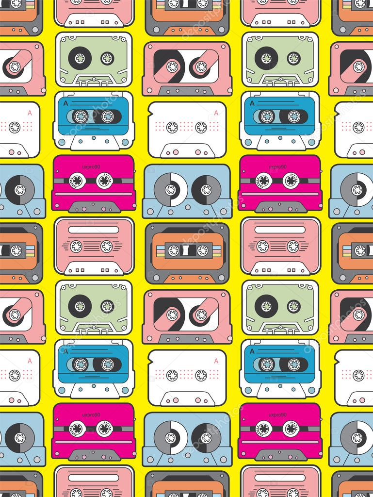 Music tape seamless pattern — Stock Vector #8036761
