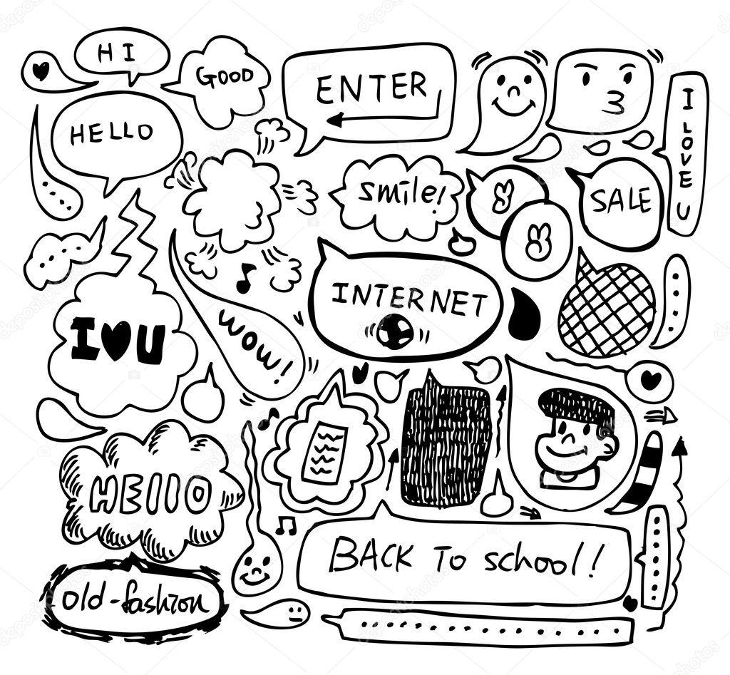 Cute Robot Doodles Cute Speech Doodle Vector by