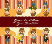 Cartoon cowboy card — Stock Vector