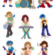 Cartoon rock band icon — Stock Vector