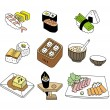 Stock Vector: Japanese sushi food