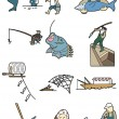 Cartoon fishing icon - Stock Vector
