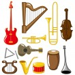 Stock Vector: Cartoon musical instruments