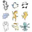 Cartoon animal dance icon set — Stock Vector