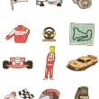 Cartoon f1 car icon — Stockvektor