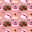 Seamless cake pattern — Stock Vector