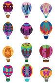 çizgi film sıcak hava balonu simgesini — Stok Vektör
