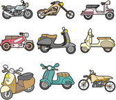 Doodle motorcycle element set — Vettoriale Stock